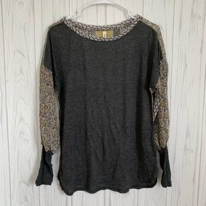 Anthropologie Tiny Gray Patterned Long Sleeve Top